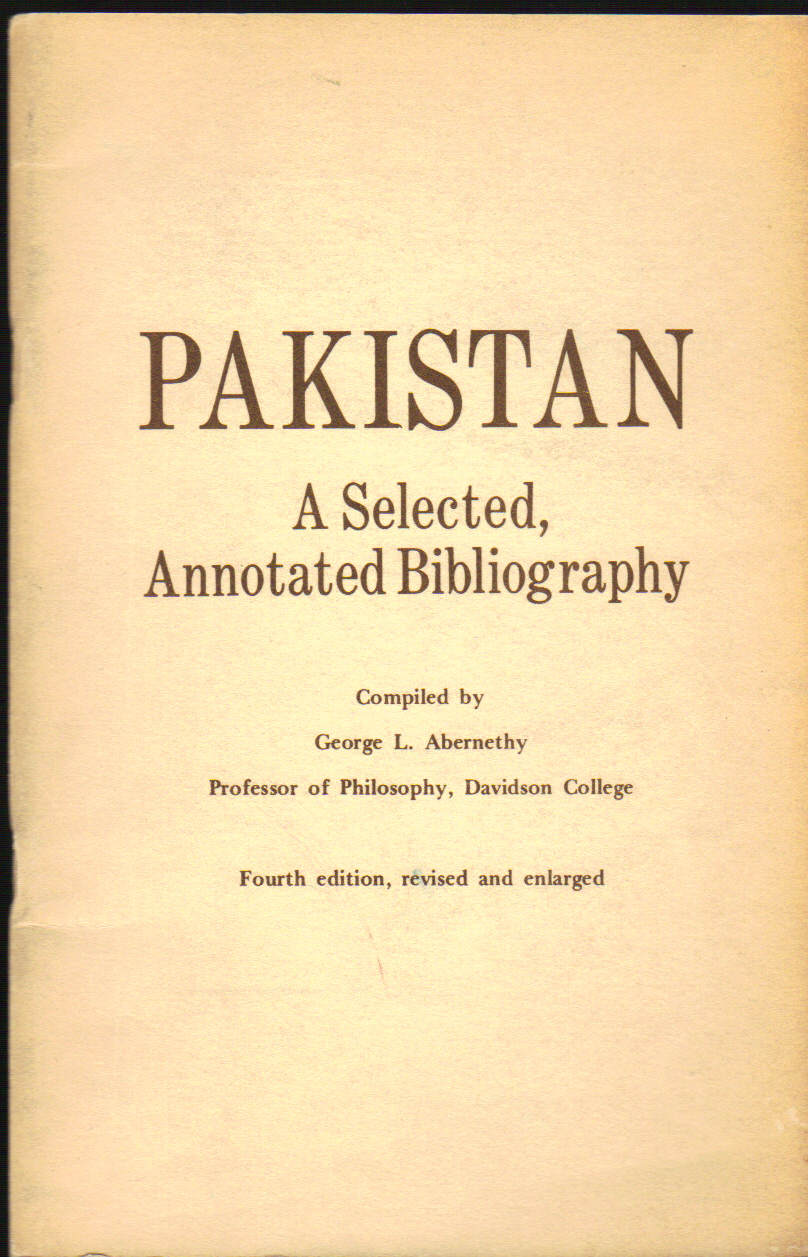 Image for Pakistan; a Selected, Annotated Bibliography