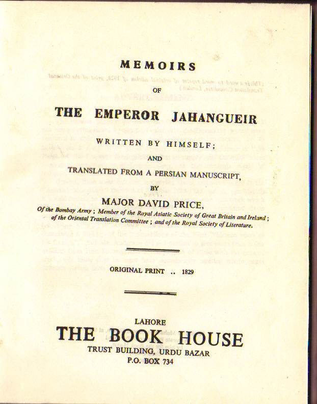 Image for Memoirs of The Emperor Jahangueir