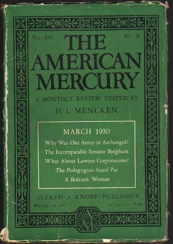 Image for The American Mercury: A Monthly Review: Vol. XIX, March 1930, No. 75